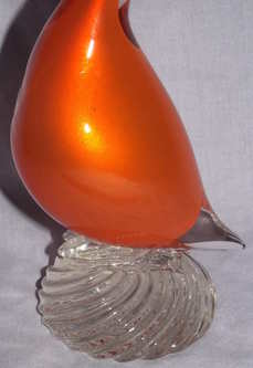 Vintage Murano Orange Glass Bird (4)