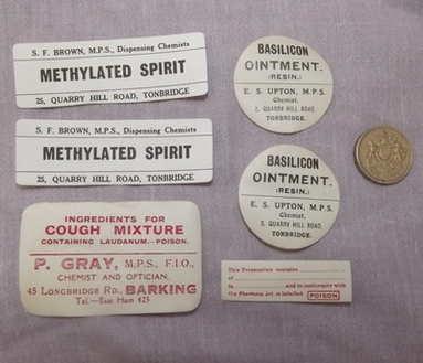 Vintage Chemist Bottle Labels.