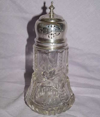 Antique Hallmarked Silver and Cut Glass Sugar Shaker, 1912.
