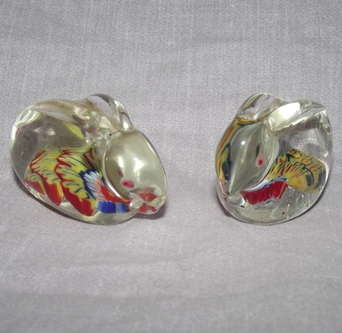 Pair of Glass Paperweight Millefiori Rabbits.