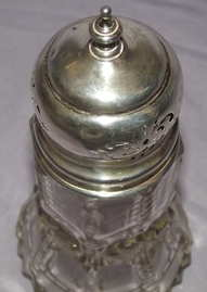 Antique Hallmarked Silver and Cut Glass Sugar Shaker 1912 (2)