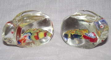 Pair of Glass Paperweight Millefiori Rabbits (2)