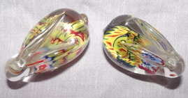 Pair of Glass Paperweight Millefiori Rabbits (3)