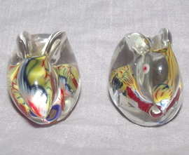 Pair of Glass Paperweight Millefiori Rabbits (7)