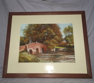 English River Scene Pastel Drawing, signed P W Scarland.