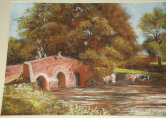 English River Scene Pastel Drawing signed P W Scarland (2)