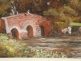 English River Scene Pastel Drawing signed P W Scarland (3)