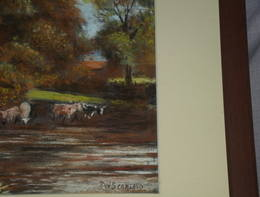 English River Scene Pastel Drawing signed P W Scarland (5)