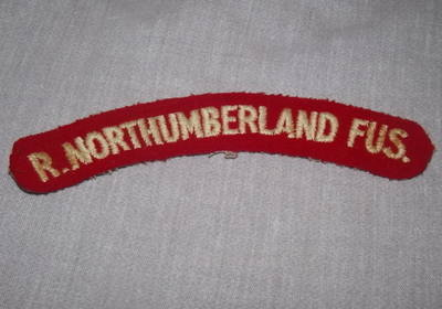 R. Northumberland Fusiliers Shoulder Patch Title.