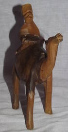 Carved Wooden Camel and Rider (2)