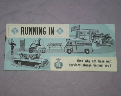 RAC 'Running In' Booklet 1960s.