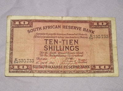 South African 10 Shilling Banknote 1941.
