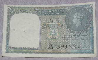 India One Rupee Banknote King George VI