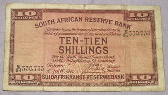 South Africa Ten Shilling Banknote 1941