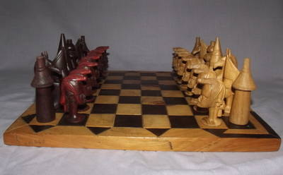African Hand Carved Wooden Chess Set.