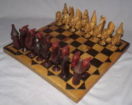 African Hand Carved Wooden Chess Set (2)