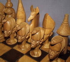 African Hand Carved Wooden Chess Set (3)