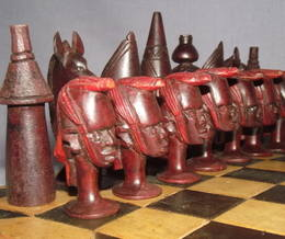 African Hand Carved Wooden Chess Set (4)