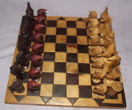 African Hand Carved Wooden Chess Set (5)