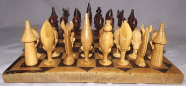 African Hand Carved Wooden Chess Set (6)