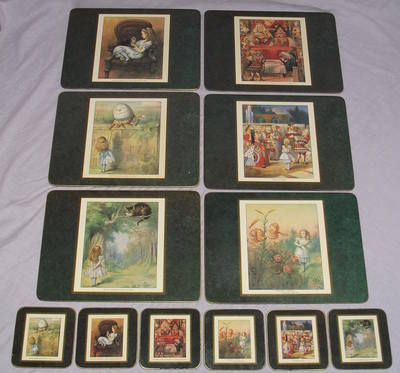 Alice in Wonderland set of Six Placemats and Coasters.