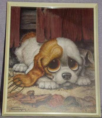 Pity Puppy by Gig, Retro Kitsch Framed Print.