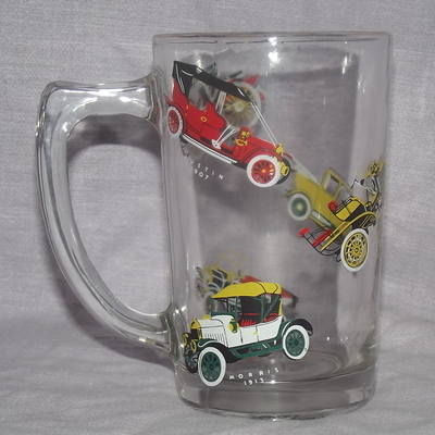 Half Pint Glass, Decorated with Vintage Cars.