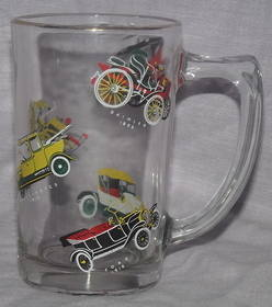 Half Pint Glass Decorated with Vintage Cars (3)