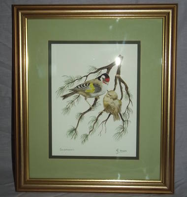 Goldfinches Framed and Signed Watercolour.