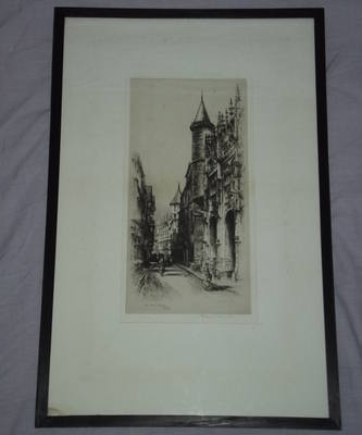 Original Etching Rue Saint Romain, Rouen, Signed Albany E Howarth.