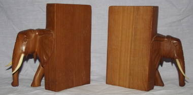 A Pair of Carved Wooden Elephant Bookends (3)