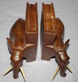 A Pair of Carved Wooden Elephant Bookends (4)