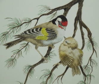 Goldfinches Framed and Signed Watercolour (2)