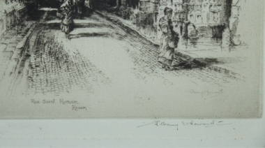 Original Etching Rue Saint Romain Rouen Signed Albany E Howarth (2)