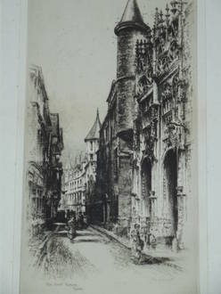 Original Etching Rue Saint Romain Rouen Signed Albany E Howarth (3)