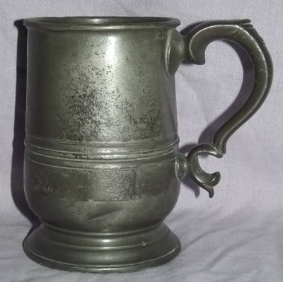 Early Victorian 1 Pint Pewter Tankard.