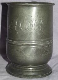 Early Victorian 1 Pint Pewter Tankard (2)