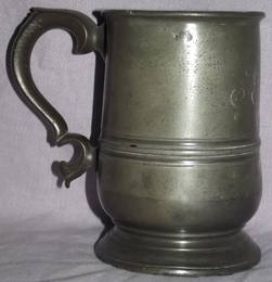 Early Victorian 1 Pint Pewter Tankard (3)