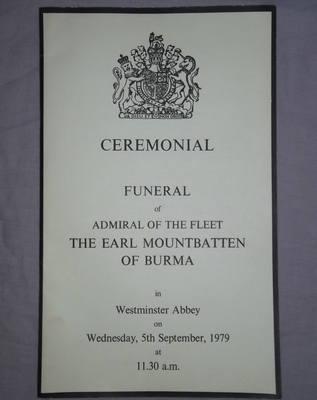 Ceremonial Program The Funeral of the Earl Mountbatten of Burma 1979.