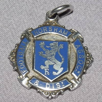 Silver and Enamel Football Medal, Horsham 1936.