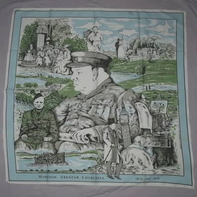 Winston Churchill 1974 Centenary Silk Head Scarf.