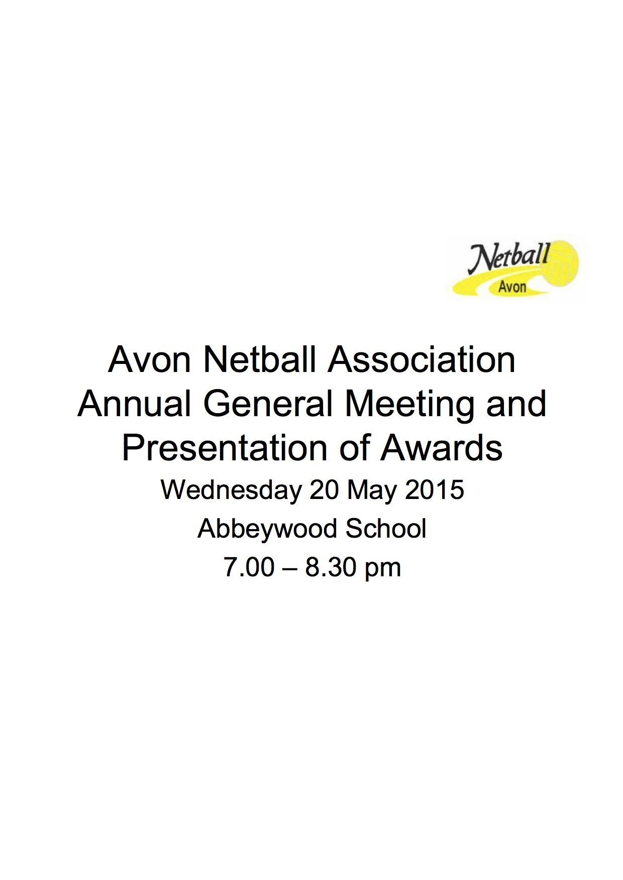 Avon Netball AGM 20 May 2015 page 1