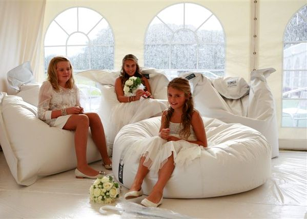 white wedding bean bags 1