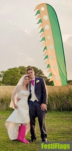 Wedding Bride and Groom with Flag Festiflags