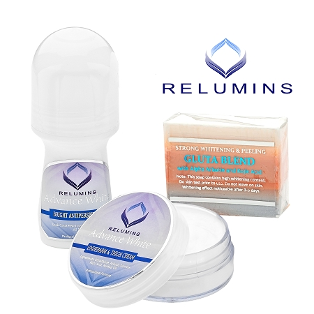 Relumins Advance White Complete Intimate Set- Whitening Soap, Deodorant Ro