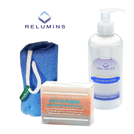 Authentic Relumins Advance White Body Whitening & Exfoliating Set Great for