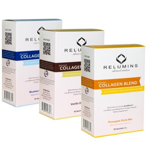Relumins Premium Collagen Blend - 10 Sachets - 100% Premium-Grade ActuMarin
