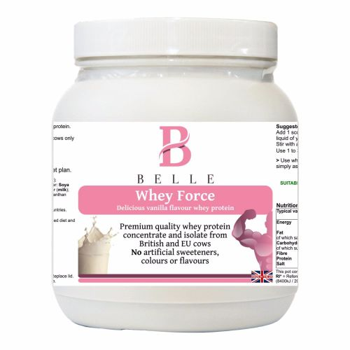 Belle® Whey Force Protein Powder - Delicious Vanilla flavored whey protein
