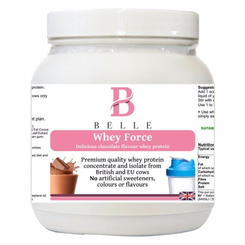 Belle® Whey Force Protein Powder - premium quality chocolate flavored whey