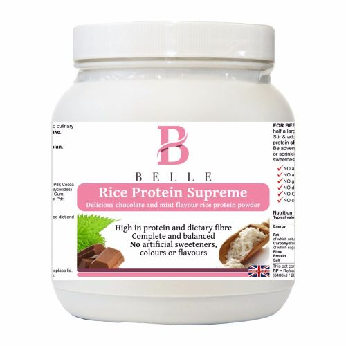 Belle® Rice Protein Supreme Powder - chocolate and mint flavour - weight ma